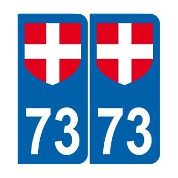 supstick 2 Stickers Autocollant Plaque IMMATRICULATION DEPT 73 Auvergne-Rh/ône-Alpes
