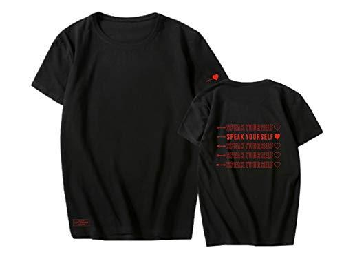 KPOP Maglietta Speak Yourself Shirt in Cotone Maglietta Stampa T-Shirt Corta Casual Camicia Scollo Rotondo Moda Top Tee Rap Monster Jin Suga J Hope Jimin V Jung Kook
