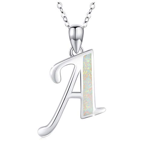 Letter Necklace 925 Sterling Silver Initial Necklace for Women Synthetic Opal Alphabet Pendant Necklace for Girls Kids