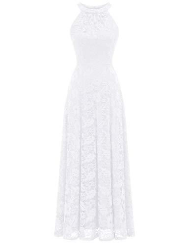 MuaDress 6012 Damen Abendkleider Lang Ballkleider Festliche Kleider für Hochzeit Maxi Spitzenkleid Weiß M