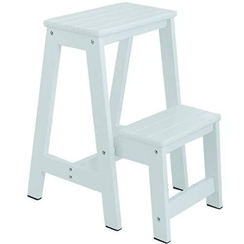 Tweelaags balkonladder Kruk, Indoor Eenzijdige Trappen/familie/bloemenwinkel/kledingwinkel houten ladder Non-slip Ladder Kruk (Kleur: Zwart, Maat: 30 * 52 * 55CM) XIUYU