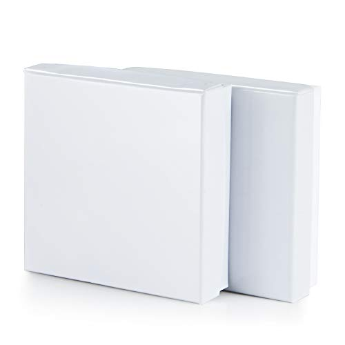 Jewelry Gift Boxes 3.5x3.5 X1'Cardboard Box Cotton Splint Bracelet Box, Ring Box, (White -20 Pcs)