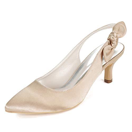 Charmstep Zapatos De Novia Para Mujer Sandalias De Tacón Medio Satén Con Punta Puntiaguda Slingback Zapatos De Boda Fiesta 1608-27