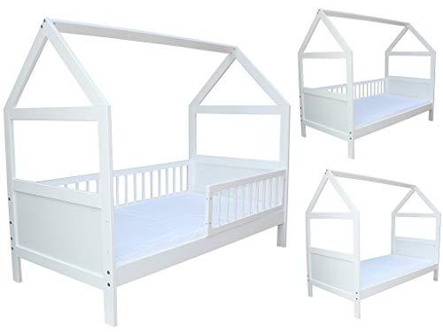 Kinderbett/Juniorbett Bett Haus 160x70 cm mit Matratze weiss