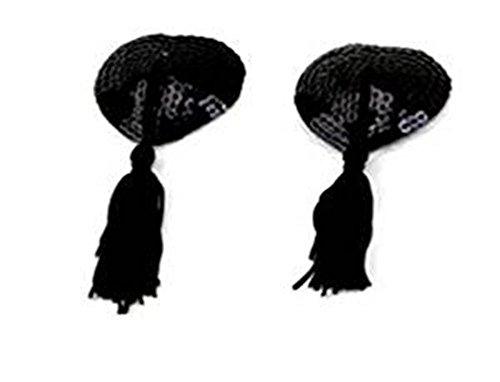 Demarkt Heart Pasties Women Lingerie Tassel Pasties Stickers Breast Bra Nipple Cover (Black)