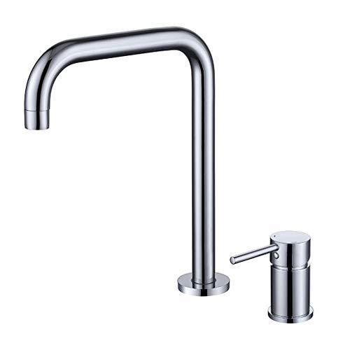 Messing dubbele gaten wastafelarmatuur split twee-gats hete en koude wastafelkraan badkamerkast Brushed tweedelige waterkraan