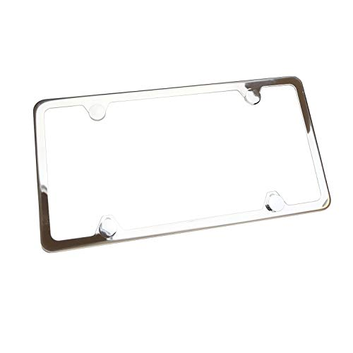 Circle Cool T304 Stainless Steel Polish Mirror 4 Hole Slim License Plate Frame Holder Tag w/Chrome Metal Cap …