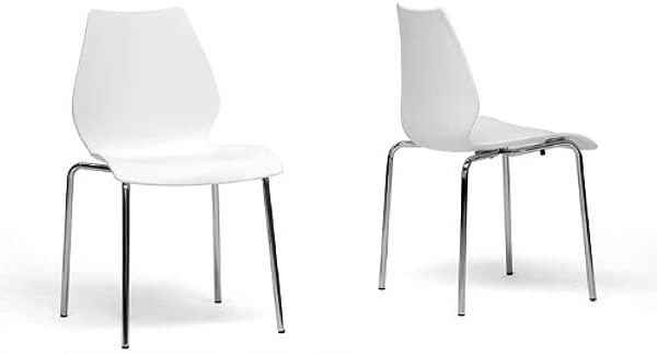 Baxton Studio Overlea White Plastic Modern Dining Chair Set Of 2