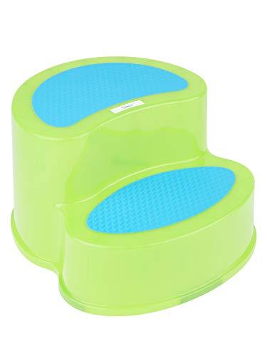 Bieco Tritthocker Kinder Grün | Zweistufiger Hocker Kinder | Bad | Tritt | Kindertreppe | Badezimmer | Zweistufig | Step Stool für Waschtisch und Kinderwaschbecken | Kindertritt  | Toilettenhocker