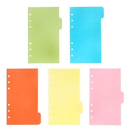 STOBOK A6 Binder Index Dividers,6 hoyos color Separadores de Índice Página Pestaña Planificador de cuaderno Tarjetas Papelería escolar, 5 colores, 30 hojas