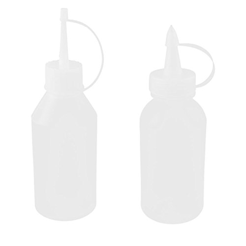 sourcingmap Plastic Pointy Nozzle Sewing Machine Oil Bottles 100ml 2pcs Clear White