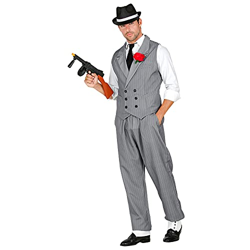 WIDMANN 10253 10253 - Disfraz de adulto de gánster, chaleco, pantalones, rayas de aguja, traje de mafia, bros, fiesta temática, carnaval, hombre, multicolor, L