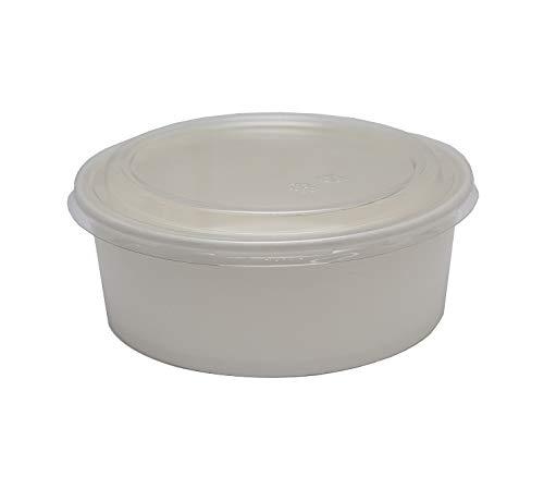 Suppenbehälter, weiß, doppelwandig, 106,7 ml, mit belüftetem Papierdeckel, ideal für Lebensmittelzubereitung, Suppe oder Eis, Einweg, biologisch abbaubar, 25–300 Stück, 50