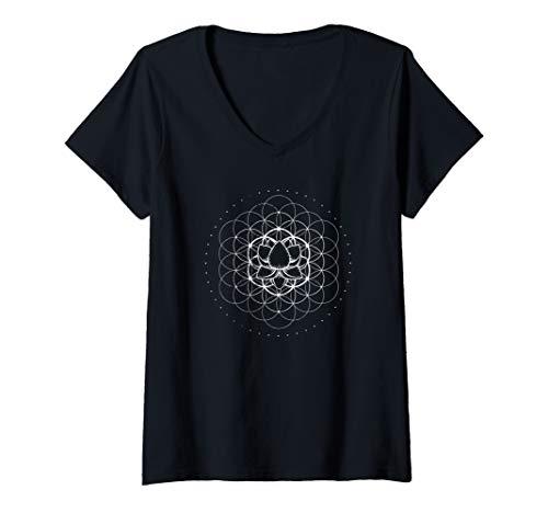 Damen Sacred Geometry Flower Of Life Yoga Lotus Dmt Mandala Chakra T-Shirt mit V-Ausschnitt