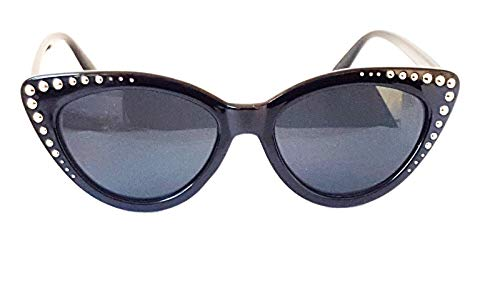 Gafas de sol LolКsom con remaches Cateye años 50, retro, vintage, pequeñas, estilo Rockabilly Schwarz Silber Nieten S