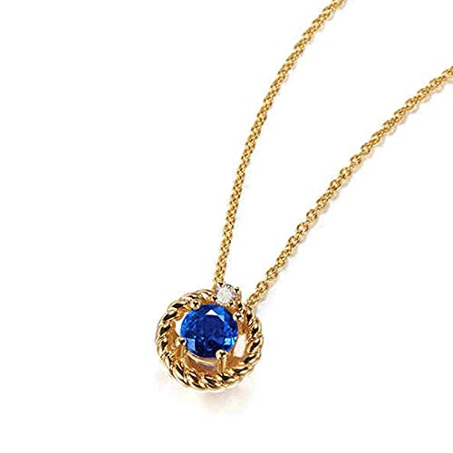 AmDxD 18K Gold Necklaces for Women, Flower with 0.62CT Round Sapphire Engagement Necklace for Women Wedding Necklace Bride, Birthday Gifts for Girlfriend Wife Mom with Gift Box