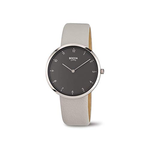 Boccia Damen Analoger Quarz Uhr mit Echtes Leder Armband 3309-08