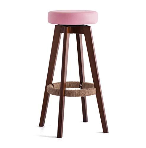 Muebles de Bar Taburetes de Bar Taburete de Bar Redondo Asiento Acolchado de Cuero de Madera Cuerda
