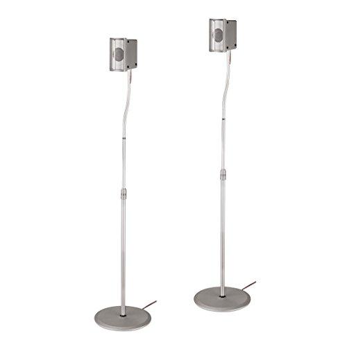 Hama Lautsprecherständer (Höhenverstellbar bis 123 cm, Je 5 kg belastbar, Versteckte Kabelführung) 2er-Set, silber
