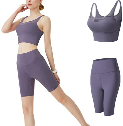CK CrisKat Mujer Conjunto de Ropa Deportiva Secado Rápido Top y Pantalones Cortos Set 2 Piezas Ropa de Fitness para Gimnasio Yoga de Entrenamiento (L, Morado)