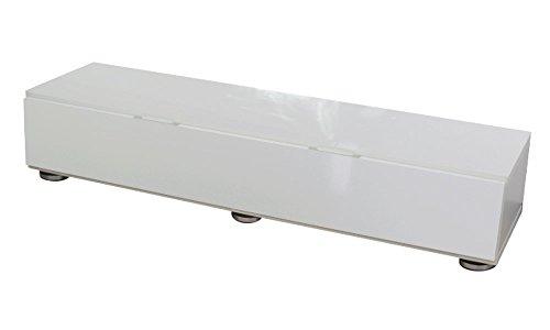 家具工場直販家具ファクトリー高級素材(鏡面仕上)フラップ扉式TV台(ホワイト)幅150日本製テレビ台TVラックAVボードローボード(ホワイト【鏡面仕上げ・単色】)