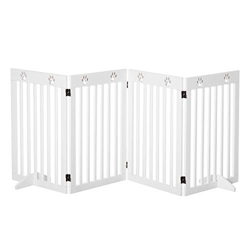 PawHut Freestanding Pet Gate 4 Panel Wooden Dog Barrier Folding Safety Fence with Support Feet up to 204cm Long 75cm Tall for Doorway Stairs White