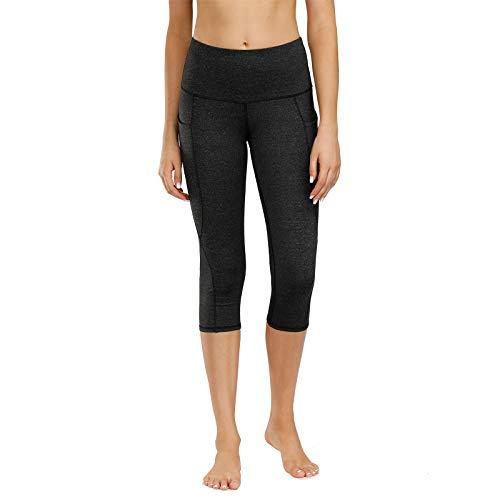 Kyopp High Waist Yoga Pants Tummy Control Workout Running 4 Way Stretch Yoga Leggings Women Capris Pants (MH.Black, M)