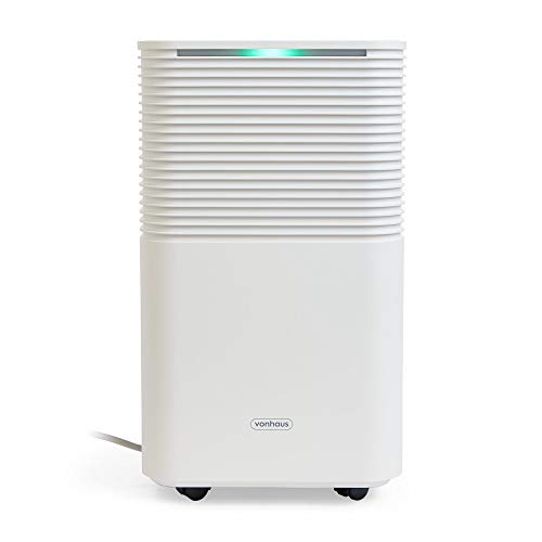 VonHaus 12L/Day Dehumidifier – Timer & 2L Extraction for Moisture, Damp & Mould Control, Drying Clothes – Home, Bedroom, Bathroom, Caravan & More – White & Grey