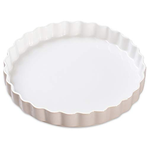 HUAFA Tarteform, Quicheform, runde Backform, Kratz- und schnittfest, Ø 28 cm, Keramik (grau)