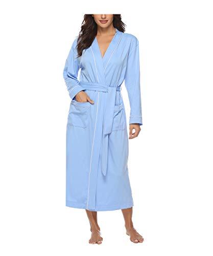 Sykooria Bata para Mujer Algodón, Largo Albornoz Kimono Ropa de Dormir Suave Loungewear Bata de Bolsillo con Cinturón Pijama