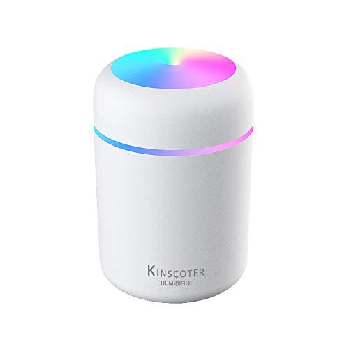 Langguth Kinscoter Mini Luftbefeuchter, Elektrischer Aromadiffusor, Befeuchtungssystem mit 300ml Wassertank, USB, LED Beleuchtung, 2 Nebelmodi, 2Filter (weiß)
