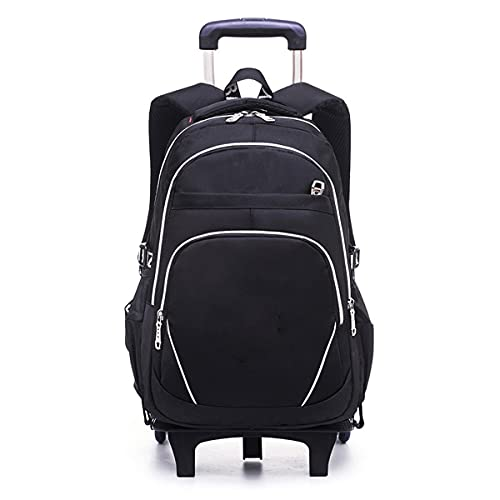 YUTCRE Trolley Bag Mochila Escolar 6 Ruedas Impermeable Estuche Escolares con Bandolera Maleta Equipaje de Mano Bolsa de Viaje para niñas (Color : Black 1, Size : 46 * 32 * 15cm)