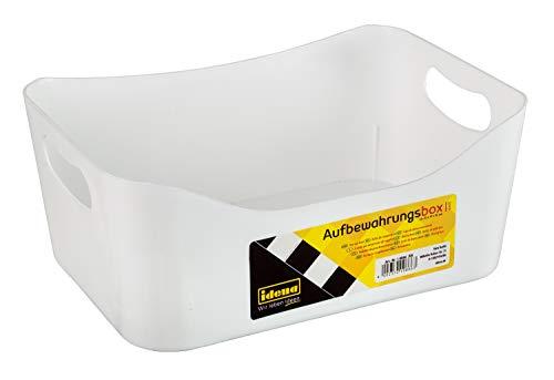 Idena 10866 - Caja de almacenaje de plástico resistente para organizar el hogar y el trabajo, aprox. 23 x 17 x 10 cm, color blanco