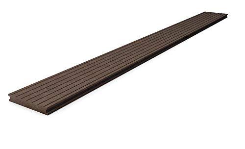 Terrassendielen aus dem Recycling-Kunststoff hanit®; verrottungsfester, witterungsbeständiger Bodenbelag für Terrasse und Balkon, 200 x 19,5 x 2,8 cm, braun (10)