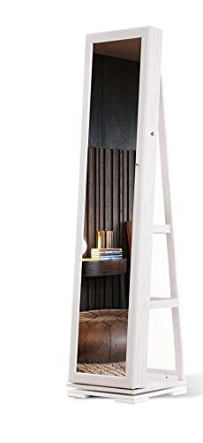 LVSOMT Armario de joyería giratorio espejo de cuerpo entero,armario joyero,Armario de joyería cerradura 3 en 1,espejo joyero,Espejo de tocador independiente,Dormitorio, Sala estar,Vestuario (Blanco)