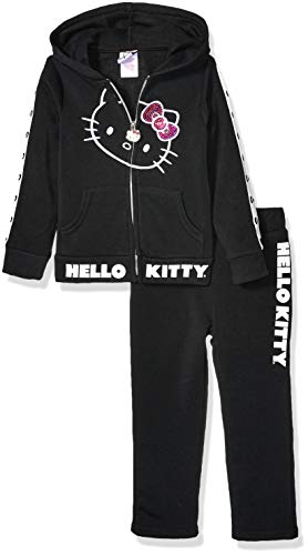 Hello Kitty Big Girls 2 Piece Zip-up Hoodie and Pant Active Set, Black White, 7
