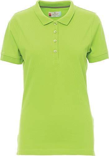 PAYPER Damen Polohemd Venice 100% Baumwolle Kurzarm 4 Knöpfe Nackenband, Farbe:Limegreen;Größe:S