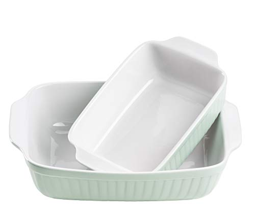 Mäser 931136 Serie Kitchen Time, Auflaufformen rechteckig im 2er Set, eckige Ofenformen, ideal auch für Lasagne, kratz- und schnittfest, Keramik, 33 x 24 x 8 cm / 25,5 x 16 x 7 cm, Grün