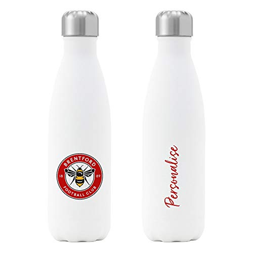Official Personalised Brentford FC Crest Insulated Water Bottle - White