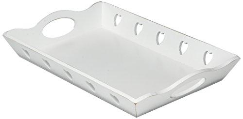 HEITMANN DECO Holz-Tablett rechteckig mit Ausgeschnittenen Herzen - romantische Deko im Landhausstil - Weiß