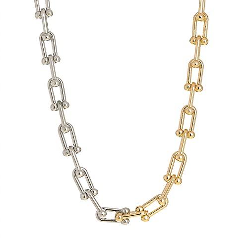 Collar de cadena en forma de U de dos colores con hebilla de OT