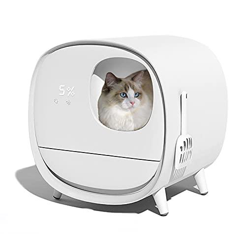 ERSHY Lettiera Autopulente per Gatti, Rimozione degli Odori, Display A LED per La qualità dell Aria, Lettiera Elettrica per più Gatti, Compatibile con più Lettiere per Gatti,Bianca