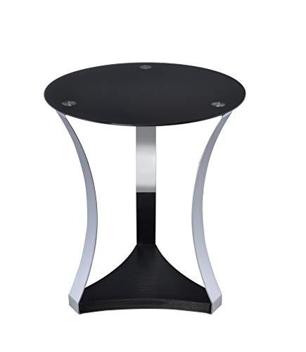 HomeRoots Furniture 286276-OT Mesa Auxiliar en Vidrio Negro y Cromo, Madera, Multicolor