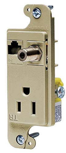 Hubbell Wiring Systems RJ650ITR Cat. 5e Jack and Coax F-Connector, Loaded, 15A, 125V tradeSELECT JLOAD Tamper-Resistant Multimedia Outlet, Ivory