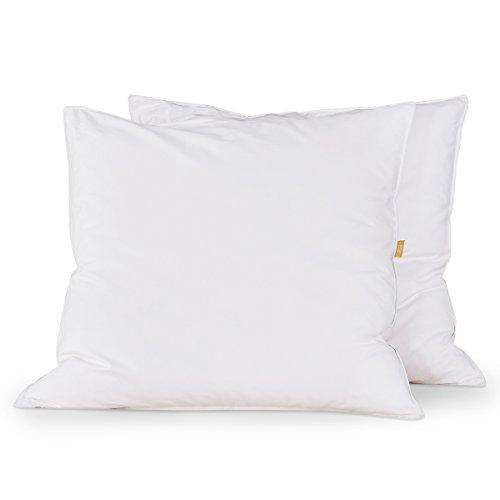 puredown® 2er Set Daunenkissen, Kopfkissen 80x80cm, 1000g Füllung Federkissen, Gänseflaum Seitenschläferkissen, Waschbar, 100% Baumwolle Bezug, Weiß