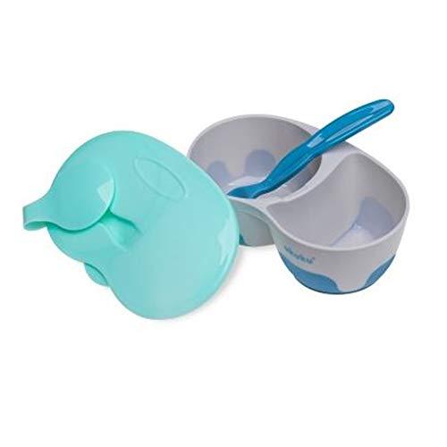 AKUKU Baby brede schaal met 2 compartimenten deksel en lepel blauw | container opslag lekvrij voor babypap babyvoeding babyvoeding bijvoeding | Baby Feeding Plate Suction Bowl and Lepel (blauw)
