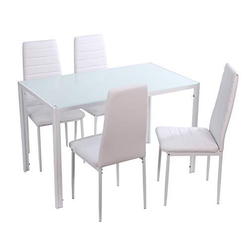 Noorsk Design Conjunto de Mesa de Comedor 120x70 + 4 sillas Clasik (Sillas Blancas)