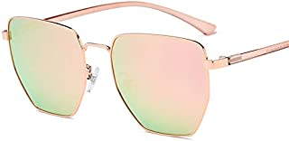 LUKEEXIN Polygonal Sunglasses Style Unisex Protective Mens Ladies (Color : Gold Frame Powder)