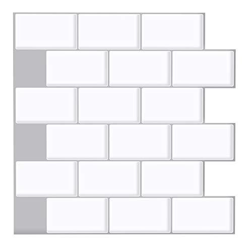Ecoart 3D - Adhesivo de pared impermeable autoadhesivo en mosaico para cuarto de baño y cocina, 25,4 x 25,4 cm, lote de 6