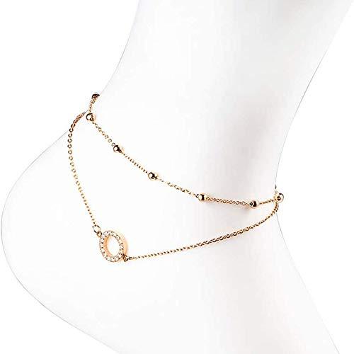 WXIAG Cadena/Pulsera De Tobillo De Acero Inoxidable Ajustable Cadena De Doble Diamante para Mujer